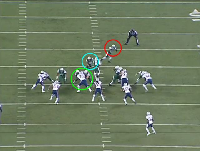 Picture 2: Note the Hilliard and Greene's positions and the double-team against Wilfork.