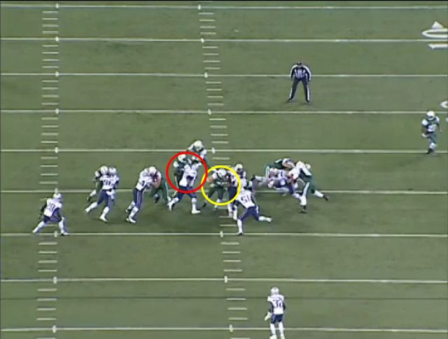 Picture 4: At this stage Wilfork has his right arm free.